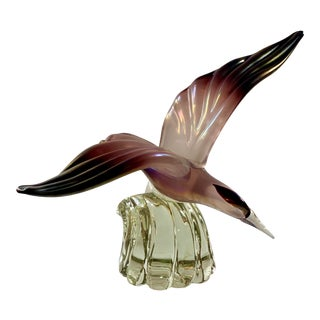 Mid Century Barbini for Cenedese Murano Italy Iridato Seagull Bird on Wave Sculpture For Sale