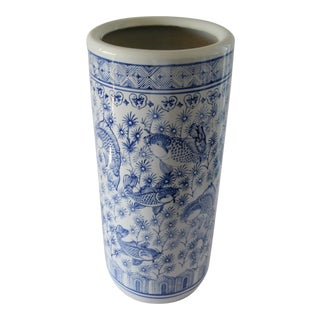 Palm Beach Chic Chinoiserie Blue and White Umbrella Stand For Sale