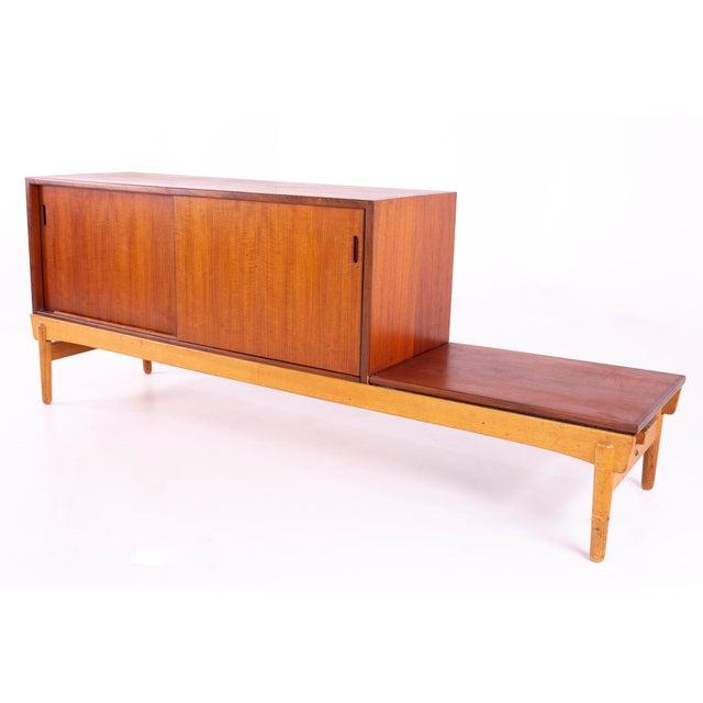 Mid-Century Modern Danish Teak Mid Century Reversible Seat Foyer Entry Storage Bench For Sale - Image 3 of 9