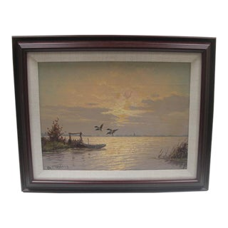 """""""Flying Ducks Seascape at Sunset"""" Painting For Sale"""