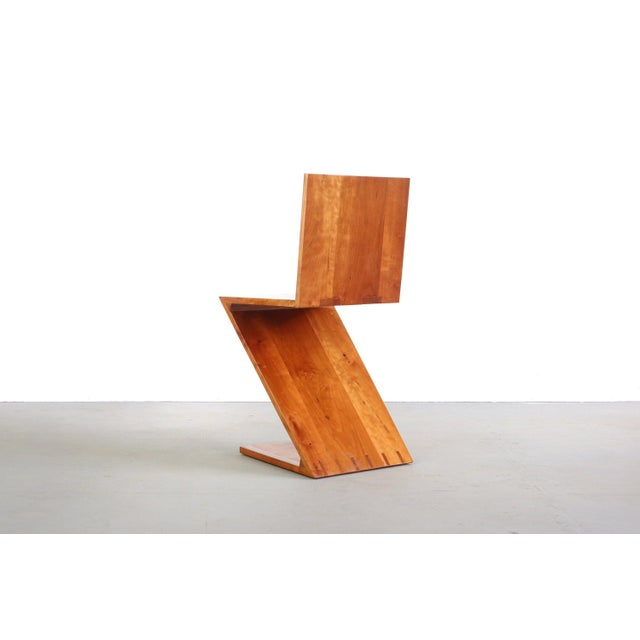 Wood Inspired Vintage Chair Originally Designed by Gerrit Rietveld Called the Zig-Zag Chair For Sale - Image 7 of 7