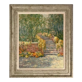 20th Century Impressionist Oil Painting Garden Landscape by Mary Lawrence For Sale