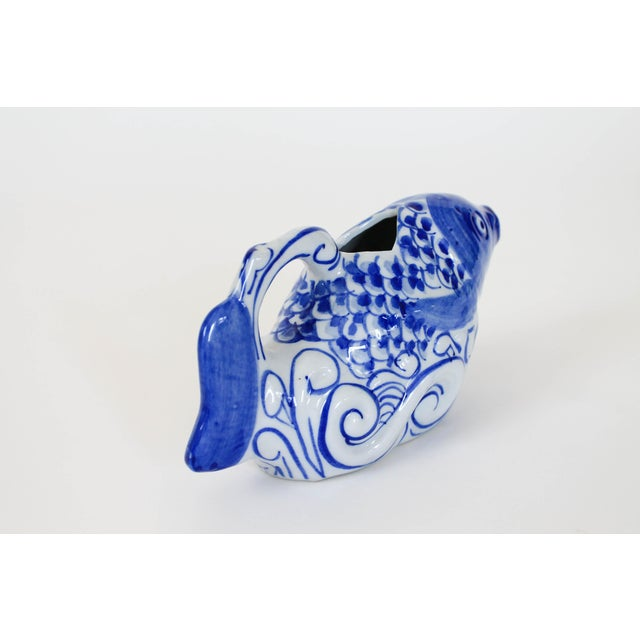Mid 20th Century Chinese Blue and White Fish Form Ceramic Teapot For Sale - Image 5 of 7