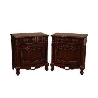 The Sansegal Collection French Country Distressed Cherry Pair Nightstands For Sale