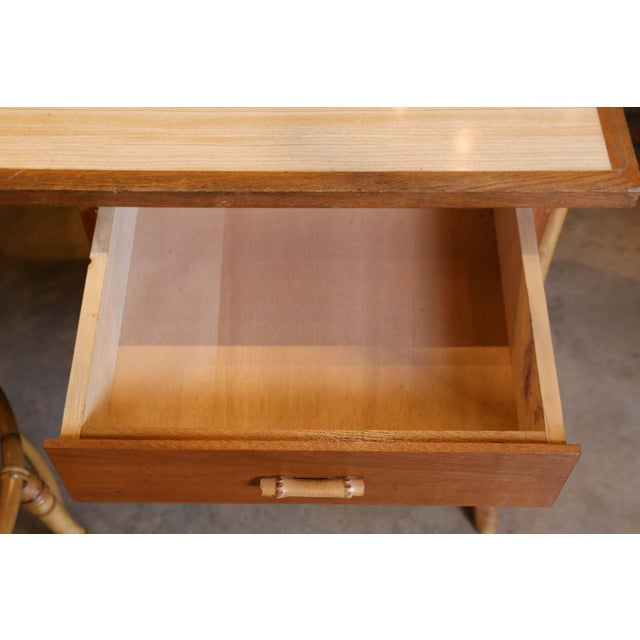 Brown Bamboo Desk and Chair For Sale - Image 8 of 11