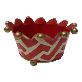 Red , White and Gold Cachepots For Sale