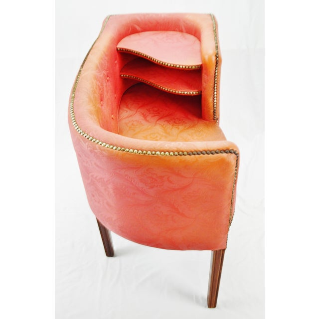 Mid 20th Century Vintage Red Jacquard Vinyl Barrel Back Gossip Bench Telephone Chair Hall Bench For Sale - Image 5 of 13