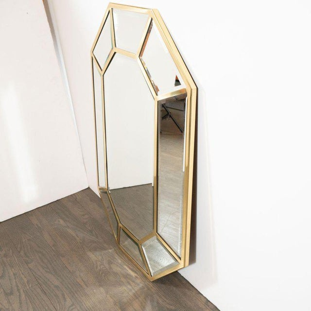 Contemporary Mid-Century Modern Segmented Octagonal Polished Brass Mirror For Sale - Image 3 of 7