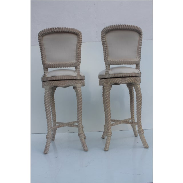 Italian Carved Rope & Tassel Bar Stools -- A Pair - Image 9 of 11