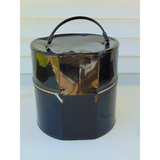 Hat Wig Box Vintage Round Suitcase Black Patent - Image 3 of 6