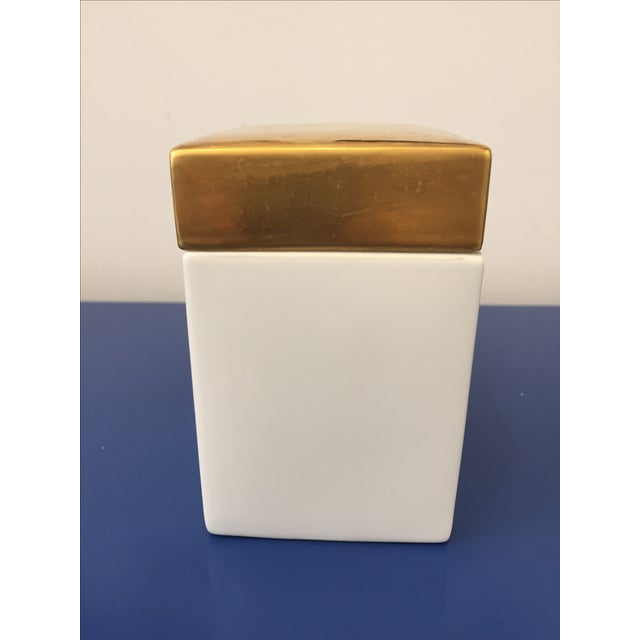 Vintage Gold & White Ceramic Jar - Image 3 of 5