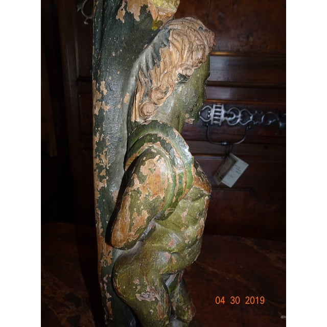 Green Italian Carved Wood Statue For Sale - Image 8 of 11