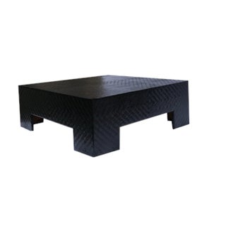 Woven Cane Low Coffee Table in Black Gloss Preview