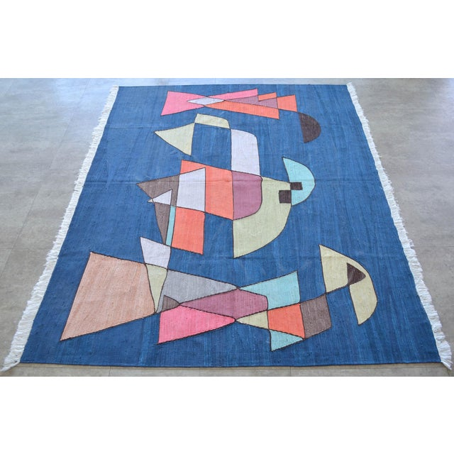 2010s Paul Klee - Sailing Boats - Inspired Silk Hand Woven Area - Wall Rug 4′6″ × 5′9″ For Sale - Image 5 of 11