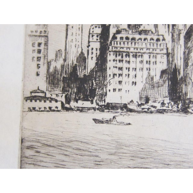 """1940s Vintage Nat Lowell """"Tip of Manhattan"""" Ca. 1940 Signed Limited Edition Etching the Battery, Lower Manhattan, Original Label, Professionally Conserved For Sale - Image 5 of 8"""
