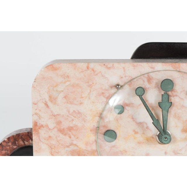 French Art Deco Streamline Exotic Pink, Black and Red Marble Table Clock - Image 7 of 9