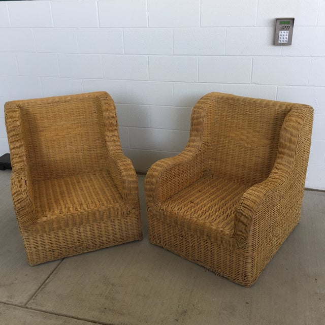 1970s Boho Chic Rattan Club Chairs - a Pair For Sale - Image 11 of 11