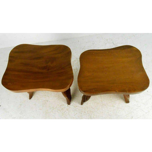 Vintage American Carved Tables - Set of 3 For Sale In New York - Image 6 of 6