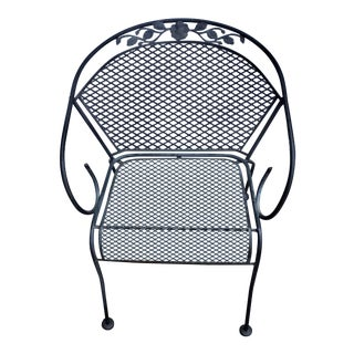 Vintage Wrought Iron Barrel Back Garden Patio Dining Arm Chair For Sale