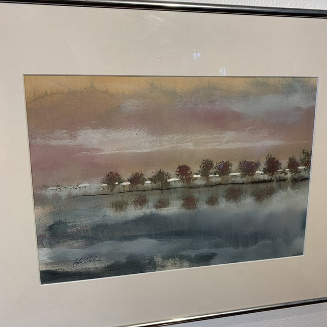 Blush Vintage Watercolor Landscape Lake Scene, Signed by the Artist For Sale - Image 8 of 10