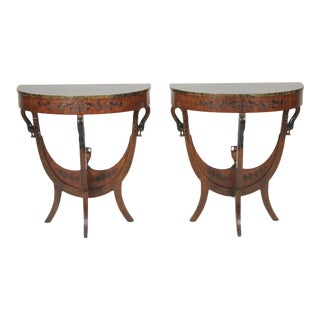1910s Figurative Demi-Lune Tables - a Pair For Sale