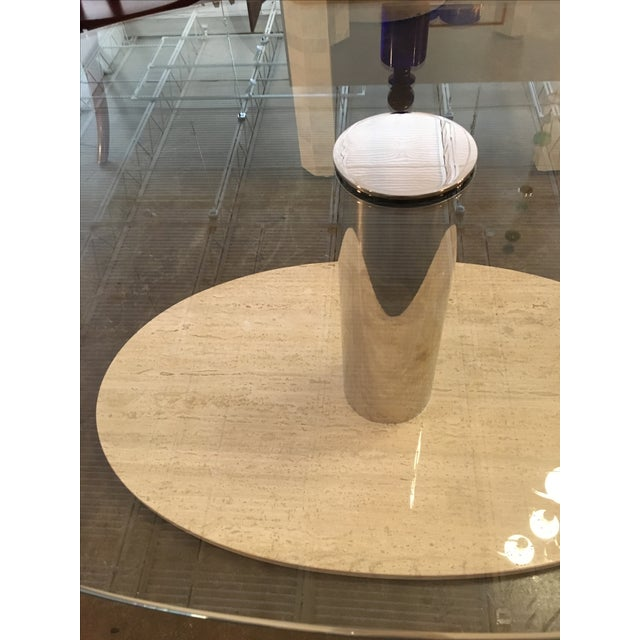 Mario Bellini for Cassina Travertine and Chrome Coffee Table with Glass - Image 5 of 9