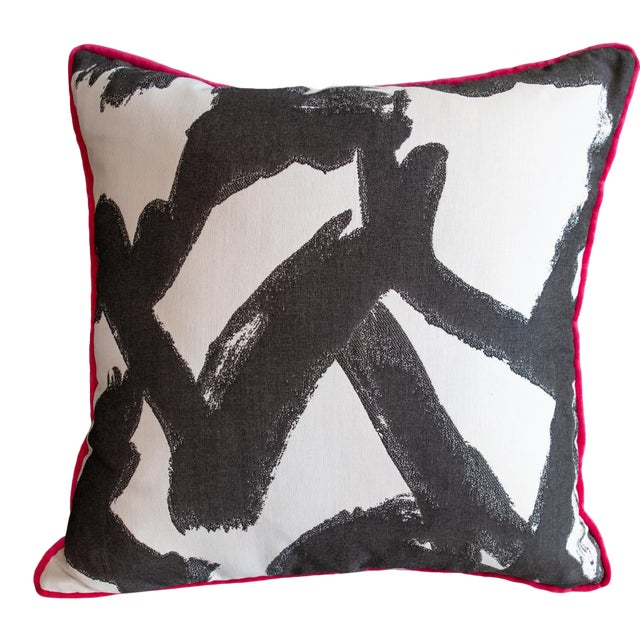 Pink Velvet and Geometric Print Pillow For Sale