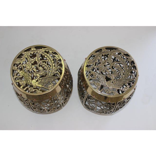 1960s Garden Stools Bamboo Crane Bird Cherry Blossom Motif in Polished Brass Fretwork - a Pair For Sale - Image 5 of 11
