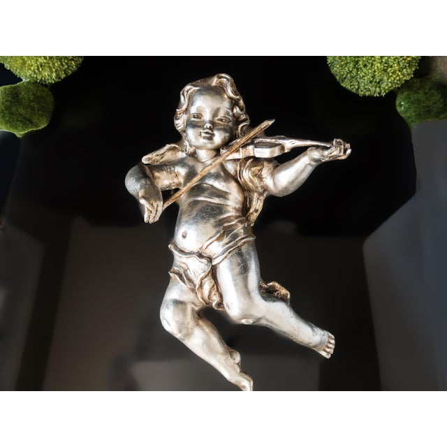 Silver Antique Cherub Silver Leaf Wall Sculpture For Sale - Image 8 of 8