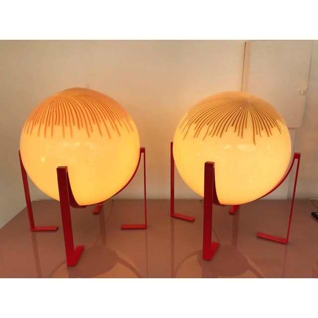 Pair of Murano Glass Ball Lamps by La Murrina, Italy, 1990s For Sale - Image 6 of 10