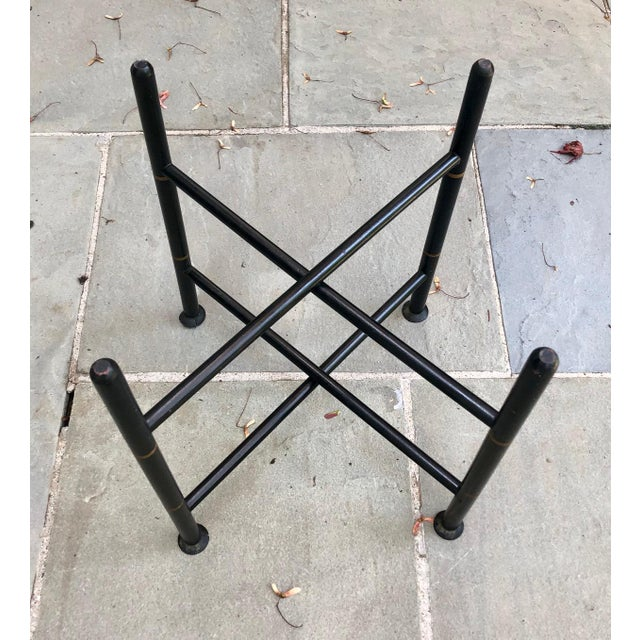 Black 19th Century Early American Stenciled Tole Tray Table For Sale - Image 8 of 11