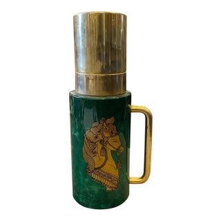 1960s Italian Mid-Century Modern Aldo Tura Green Goatskin and Brass Carafe For Sale