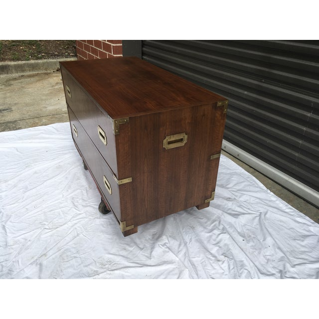 Campaign Baker Furniture Low Campaign Chest For Sale - Image 3 of 12
