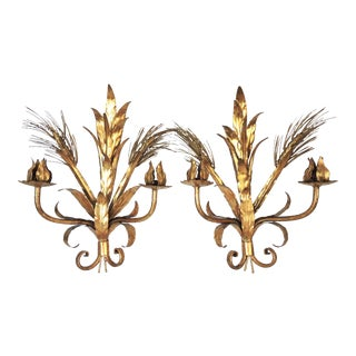 Vintage Italian Gold Wheat Sheaf Wall Sconces or Candle Holders - a Pair For Sale