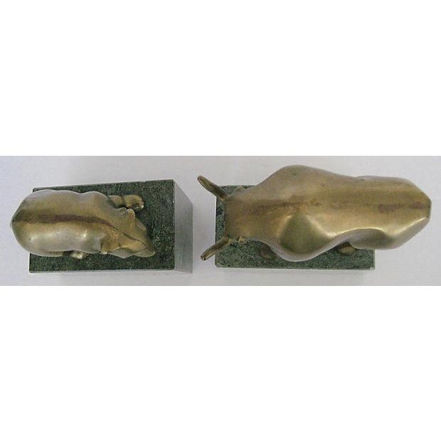 Bear and Bull Brass and Marble Bookends - A Pair - Image 7 of 7