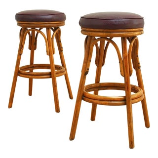 Mid-Century Modern Rattan Swivel Bar Stools For Sale