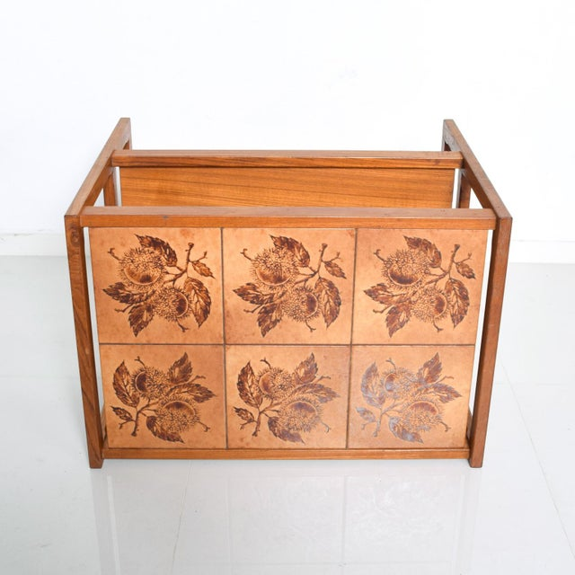 Mid-Century Danish Modern Teak and Tiles Service Table Bakery Bar Trolley For Sale - Image 11 of 12
