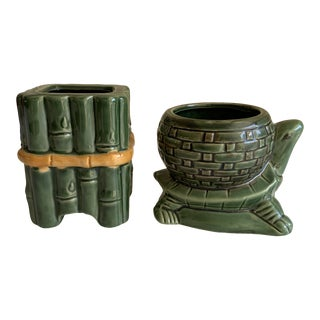 Vintage Petite Ceramic Turtle and Bamboo Planters For Sale