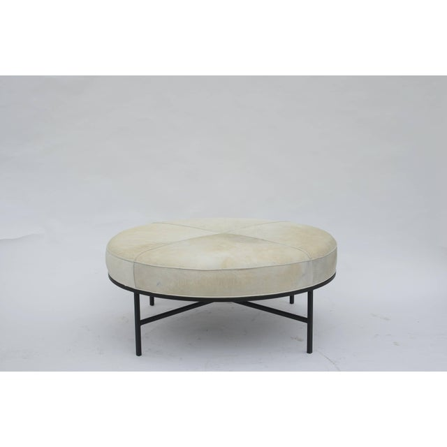 Modern Chic White Hide and Blackened Steel 'Tambour' Ottoman by Design Frères For Sale - Image 3 of 3