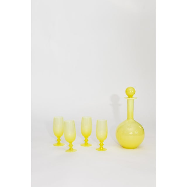 French French Yellow Opaline Decanter & Liquor Glasses- Set of 5 For Sale - Image 3 of 3