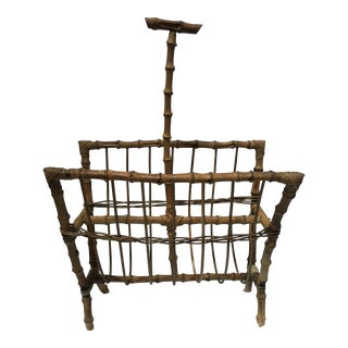 Antique Bamboo Magazine Rack For Sale