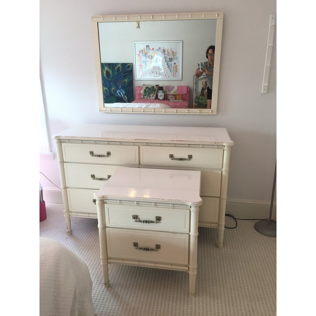White Henry Link White Faux Bamboo Dresser With Mirror and Side Table / Night Stand - 3 Pc. Set For Sale - Image 8 of 8