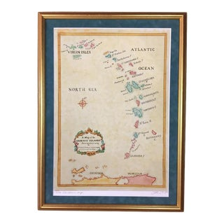 Watercolor Painting of Caribbean West Indies Map For Sale