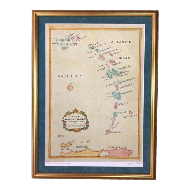 Watercolor Painting of Caribbean West Indies Map - Image 1 of 7