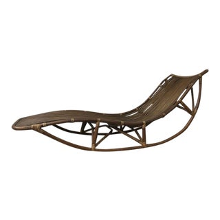 1970s Vintage Sculptural Rattan and Reed Chaise Lounge For Sale