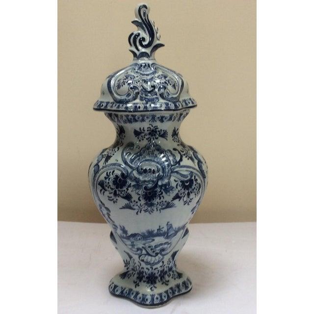 Blue Delft Style Decorative Lidded Jar For Sale - Image 8 of 9