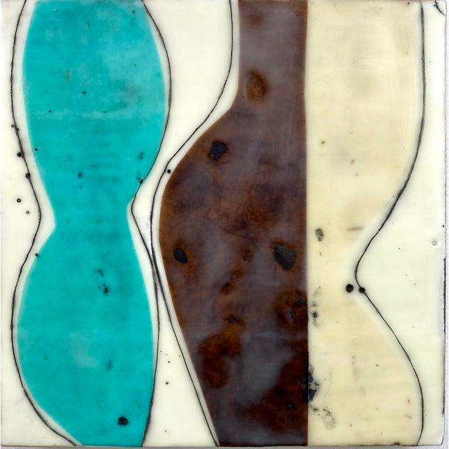 """""""Bodies in Motion"""" Encaustic Collage by Gina Cochran - 16 Piece Installation For Sale In Washington DC - Image 6 of 13"""