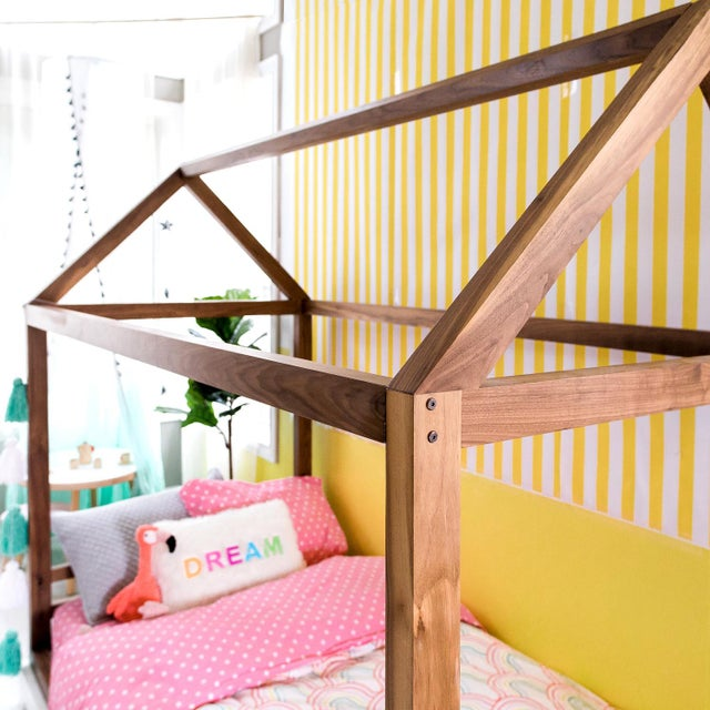 Nico & Yeye Domo Zen Twin Canopy Bed in Walnut With Pink Finish Drawers For Sale - Image 4 of 6