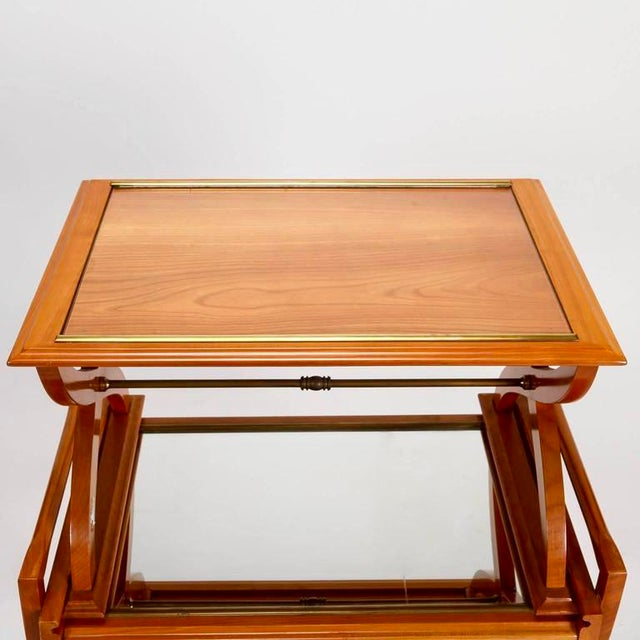 French Mid-Century Serving Trolley & Coordinating Self Storing Table - Image 8 of 11