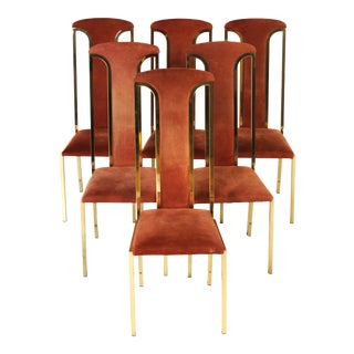 1970s Italian Suede and Brass Chairs-Set of 6 For Sale